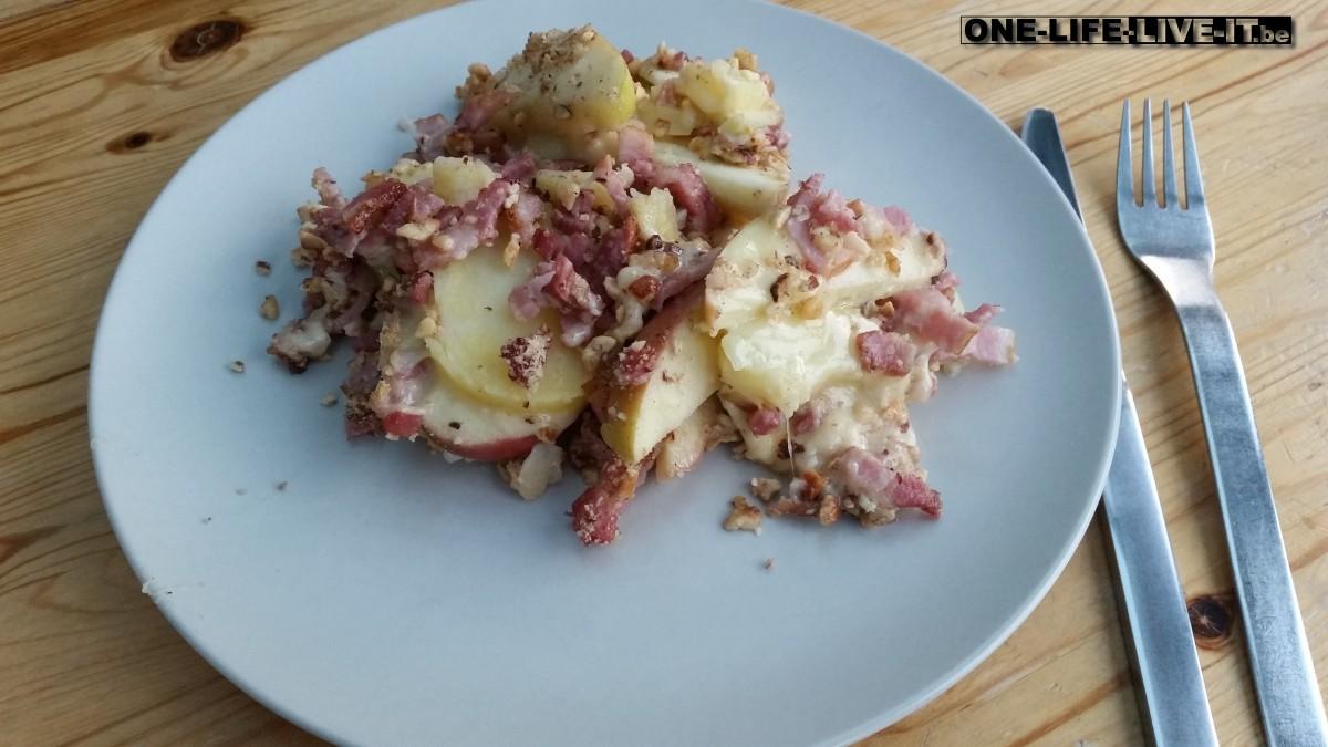 Aardappelpannetje met appel en noten