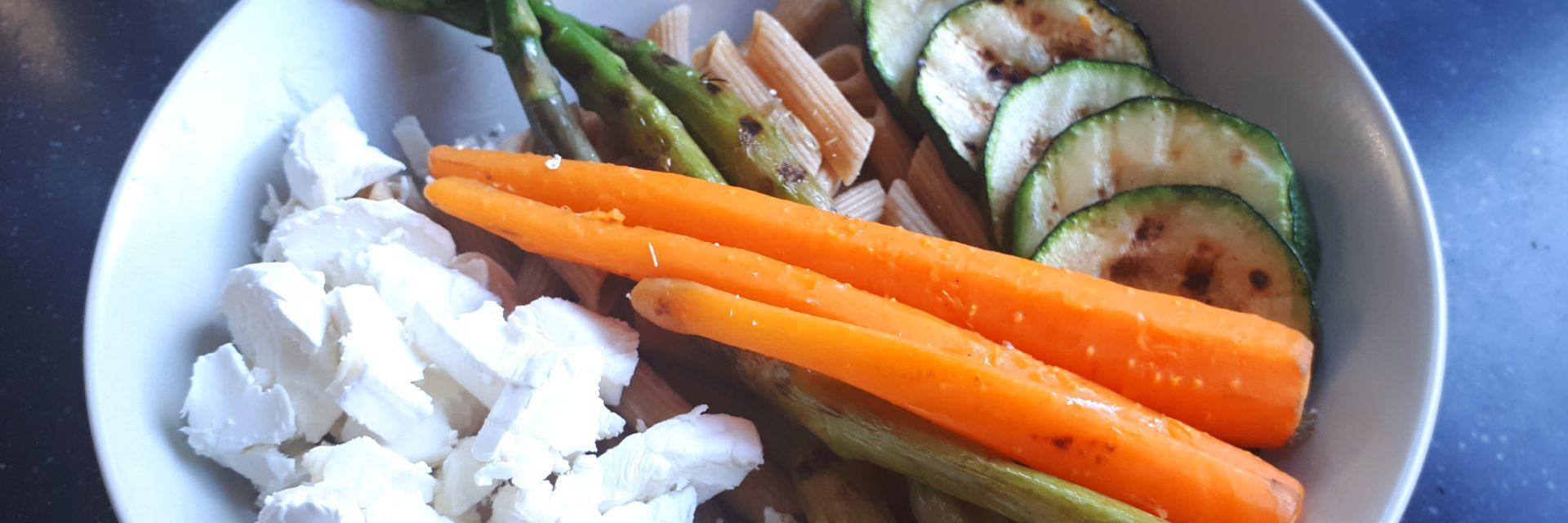 Gegrilde groenten met mozzarella & vis